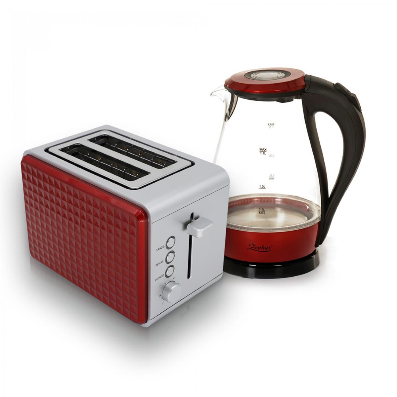 Комплект тостер и електрическа кана ZEPHYR Breakfast, 2 части, Червен в Тостери за хляб - ZEPHYR | Alleop