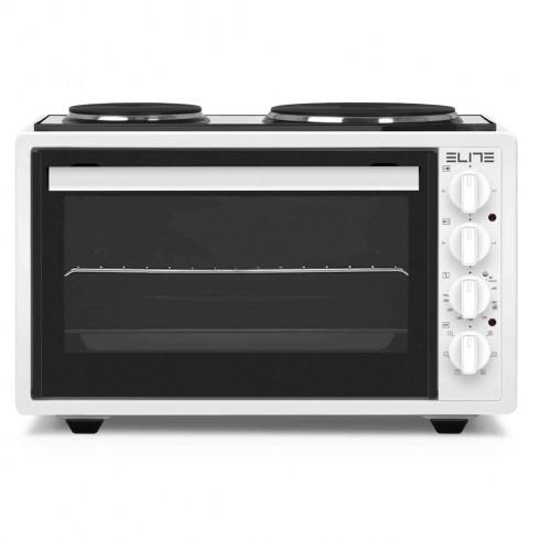Готварска печка с конвекция Elite EMO-1209, 42 литра, Фурна:1300W, Два котлона: 2500W, Осветление, Двойно стъкло, Бял в Малки готварски печки - Elite | Alleop
