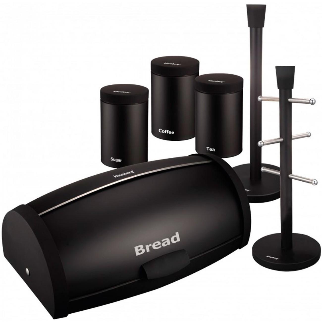 Комплект кутии за хляб и съхранение с поставки за хартия и чаши Klausberg KB 7236, Емайл-мат, Екологично чисти, Черен в Кутии за хляб - Klausberg | Alleop