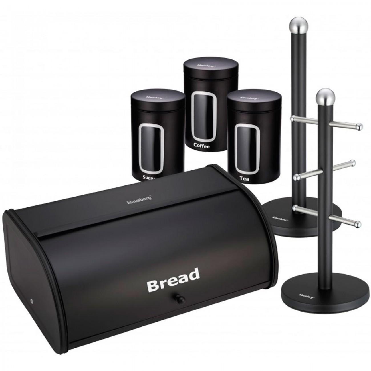 Комплект кутии за хляб и съхранение с поставки за хартия и чаши Klausberg KB 7238, Емайл-мат, Екологично чисти, Черен в Кутии за хляб - Klausberg | Alleop