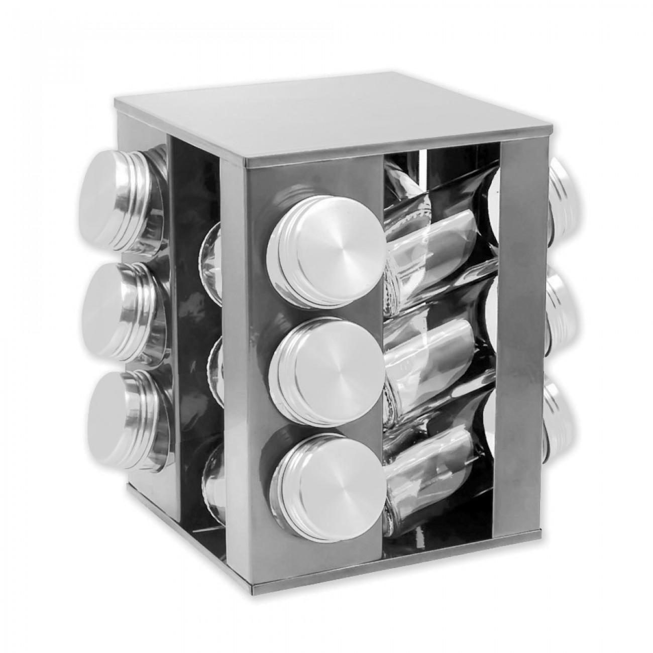 Бурканчета за подправки на стойка ZEPHYR ZP 1217 CS12, 12 бр. бурканчета, 3 нива, Въртяща се основа, Сребрист в Поставки за подправки и органайзери за кухня - ZEPHYR | Alleop