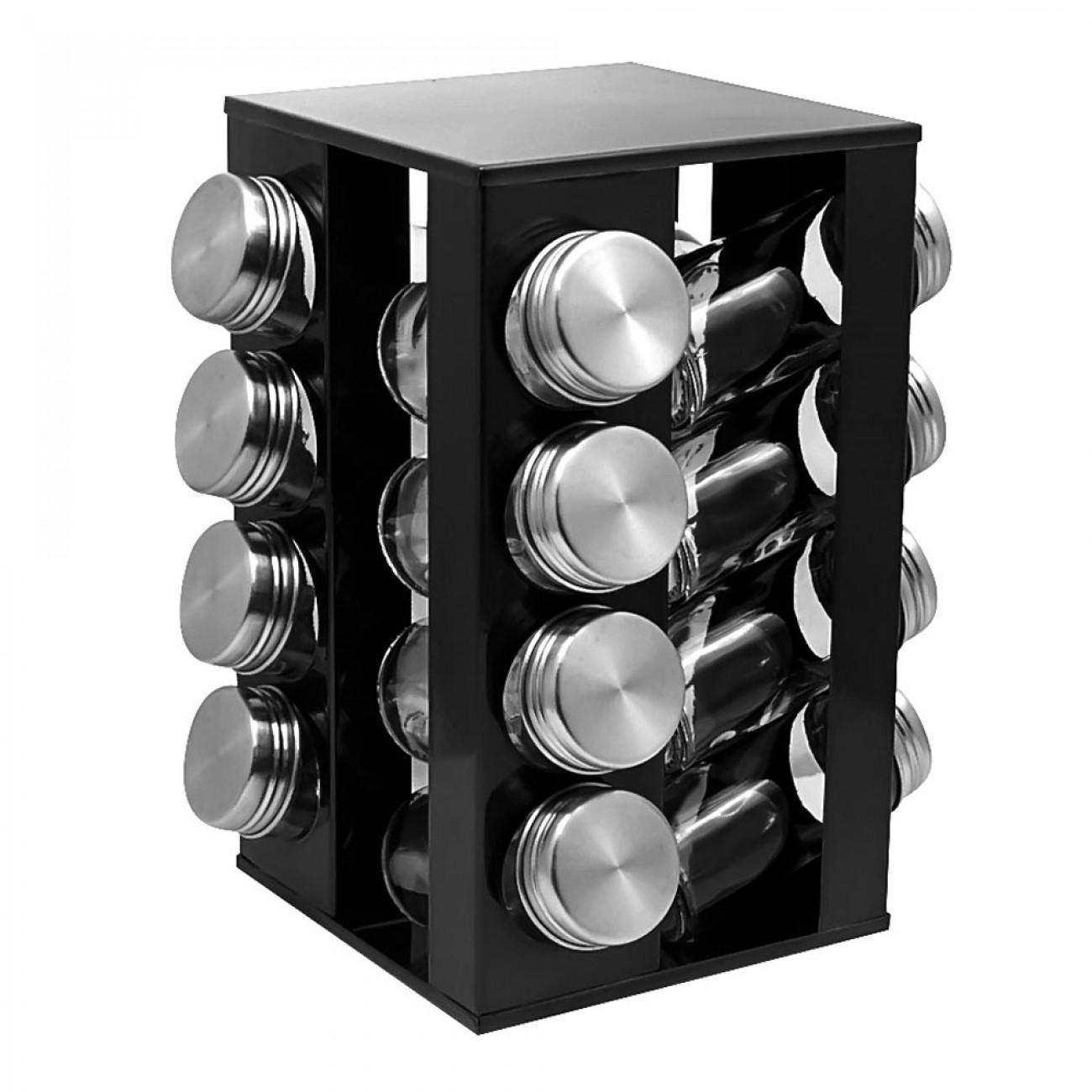 Бурканчета за подправки на стойка ZEPHYR ZP 1217 CS16, 16 бр. бурканчета, 4 нива, Въртяща се основа, Черен в Поставки за подправки и органайзери за кухня - ZEPHYR | Alleop