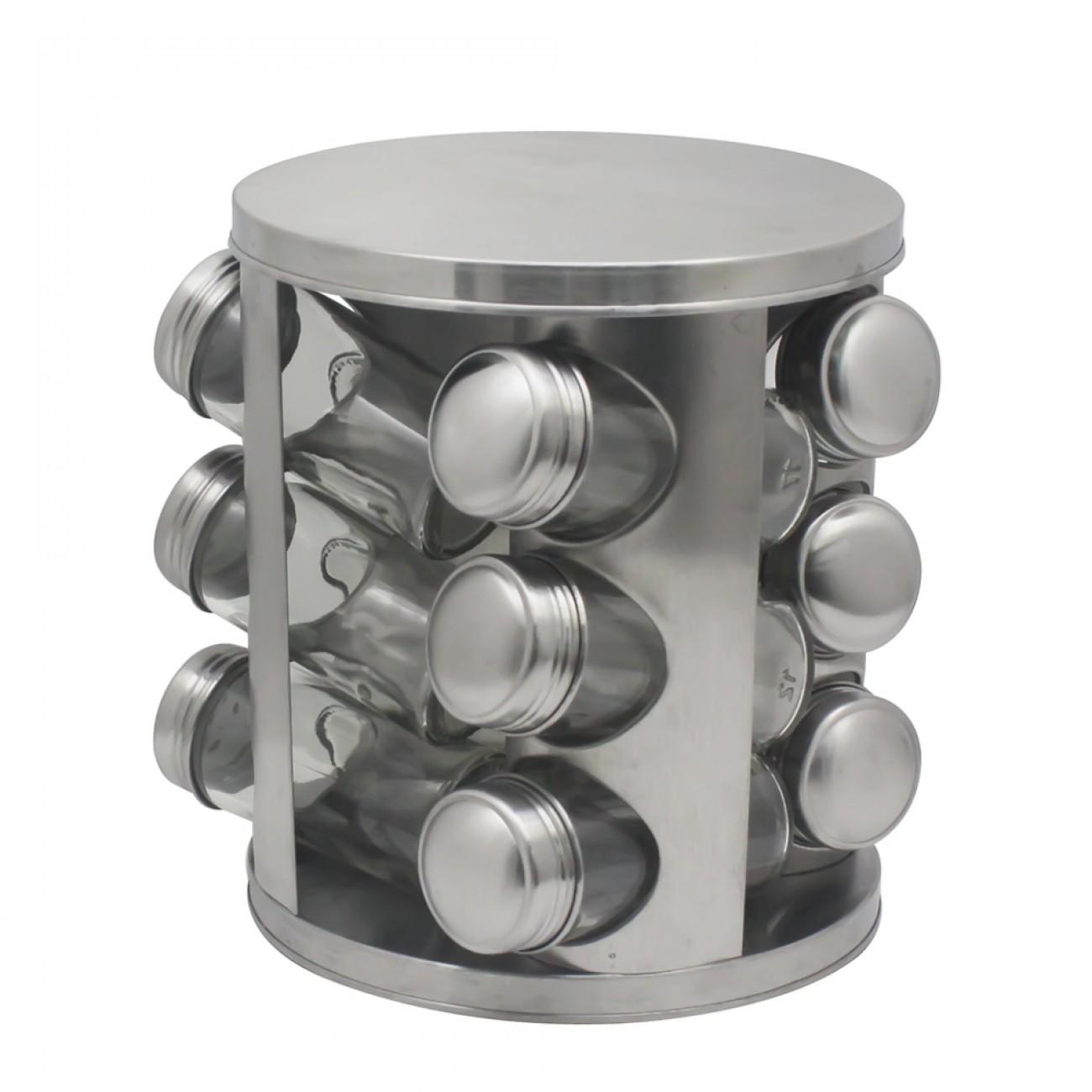 Бурканчета за подправки на стойка ZEPHYR ZP 1217 CR12, 12 бр. бурканчета, 3 нива, Въртяща се основа, Сребрист в Поставки за подправки и органайзери за кухня - ZEPHYR | Alleop