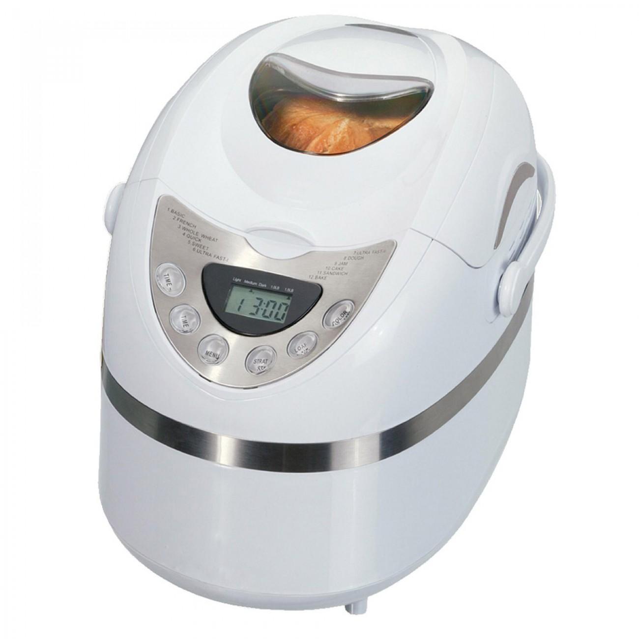 Хлебопекарна IQ EX-2165, 600W, 900 гр, 12 програми, Таймер, Регулиране загара на коричката, Бял в Хлебопекарни - IQ | Alleop