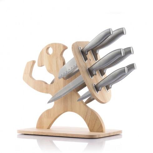 Комплект ножове с дървена стойка InnovaGoods, 7 части, Неръждаема стомана, 33 x 30 x 20 см, Кафяв в Комплекти ножове - InnovaGoods | Alleop