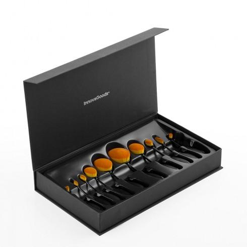 Комплект овални четки за грим InnovaGoods, 10 броя, Гъвкави дръжки, Луксозна кутия, Черен в Кухненски аксесоари - InnovaGoods | Alleop