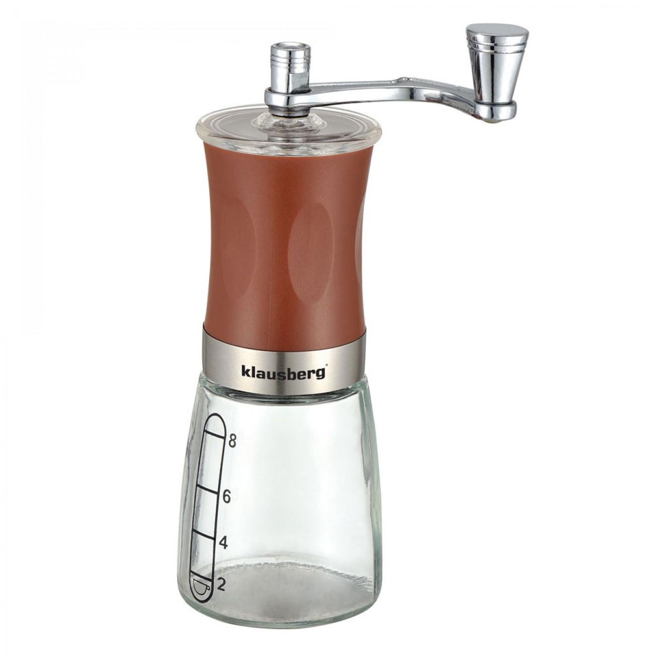 Механична мелничка за кафе Klausberg KB 7176, 8 чаши, Регулиране на големина, Стъкло, Кафяв в Кафемелачки - Klausberg | Alleop