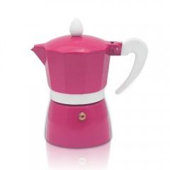 Кубинска кафеварка ZEPHYR ZP 1173 L3, 3 чаши, Топлоустойчива дръжка, Розов