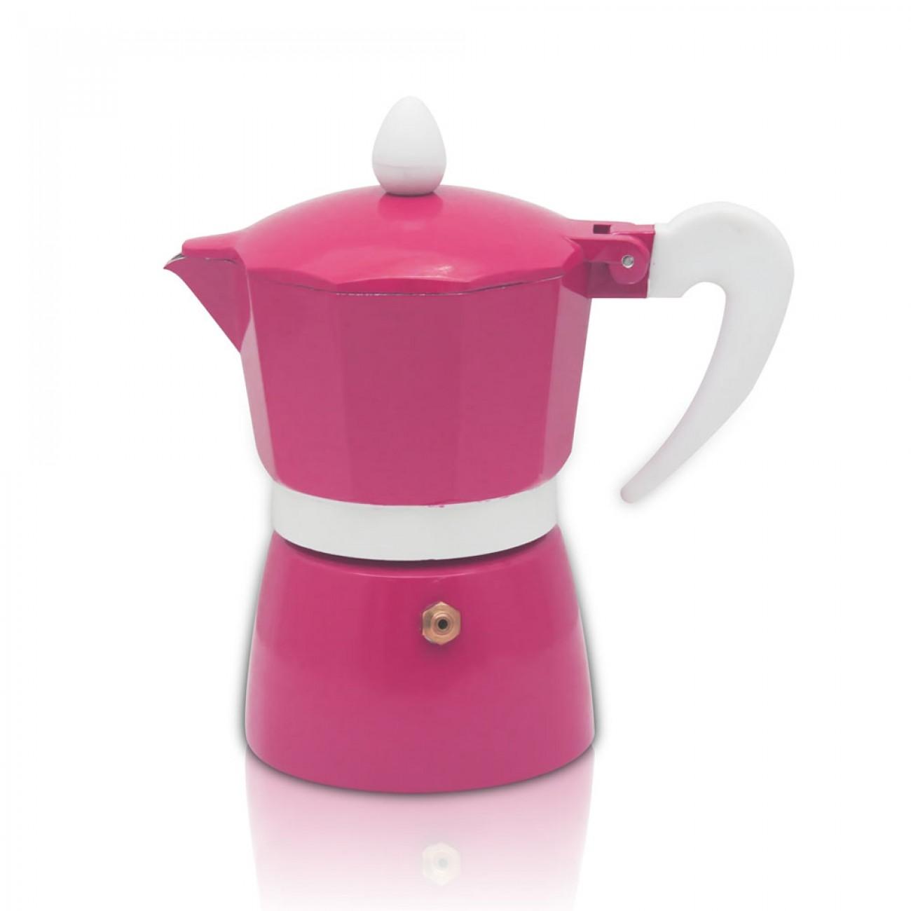 Кубинска кафеварка ZEPHYR ZP 1173 L9, 9 чаши, Топлоустойчива дръжка, Розов в Кафеварки за котлон - ZEPHYR   Alleop