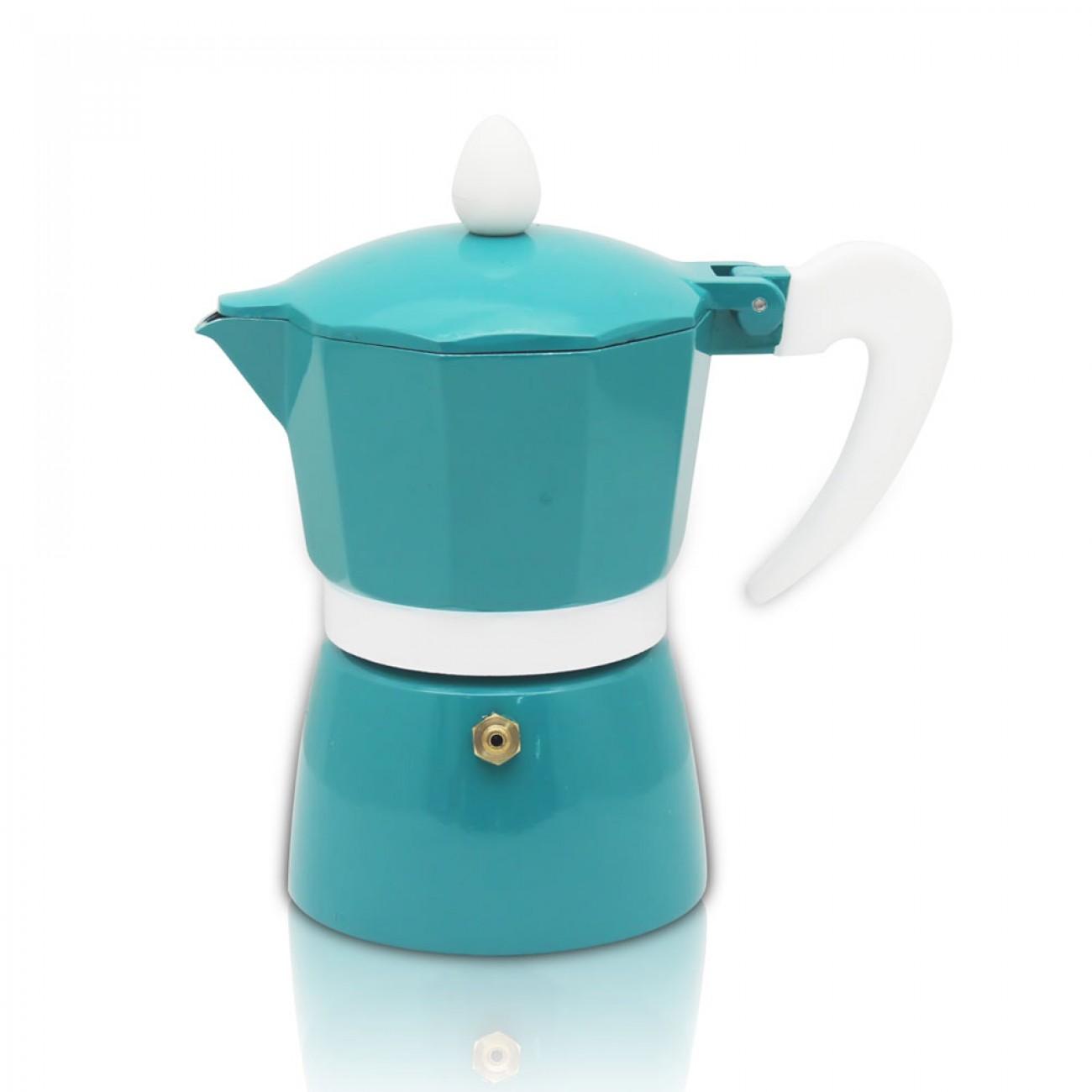 Кубинска кафеварка ZEPHYR ZP 1173 L9, 9 чаши, Топлоустойчива дръжка, Син в Кафеварки за котлон - ZEPHYR | Alleop