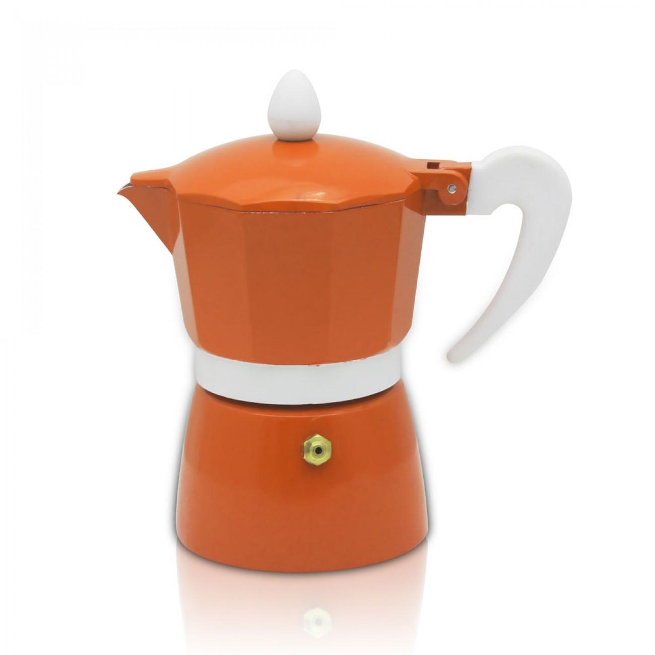 Кубинска кафеварка ZEPHYR ZP 1173 L9, 9 чаши, Топлоустойчива дръжка, Оранжев в Кафеварки за котлон - ZEPHYR | Alleop
