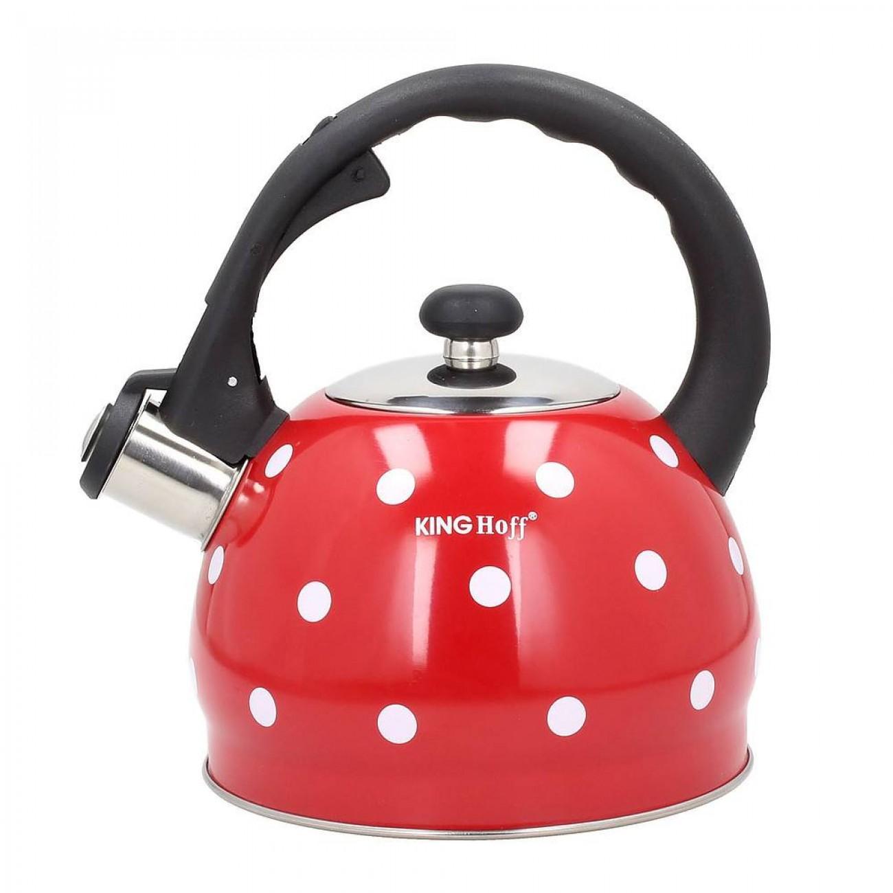 Свирещ чайник Kinghoff KH 1052, 2,6 литра, Топлоизолирана дръжка, Подходящ за индукция, Неръждаема стомана, Червен/бял в Чайници - Kinghoff | Alleop