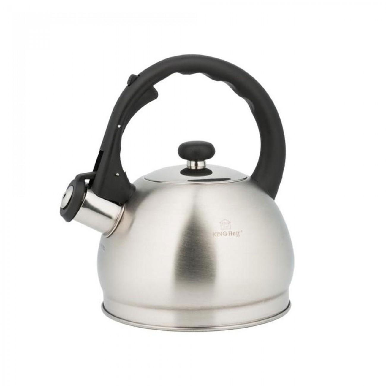 Свирещ чайник Kinghoff KH 3773, 1.8 литра, Инокс, Черна дръжка в Чайници - Kinghoff | Alleop