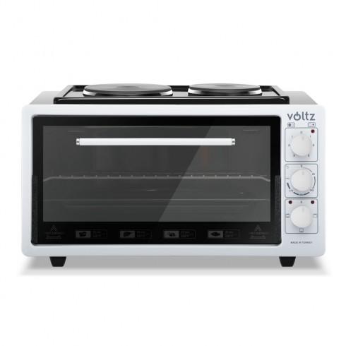 Готварска печка с два котлона Voltz V51441BK50, 50 литра, 2900W, Съвместна работа на котлон с фурна, Бял в Малки готварски печки - Voltz | Alleop