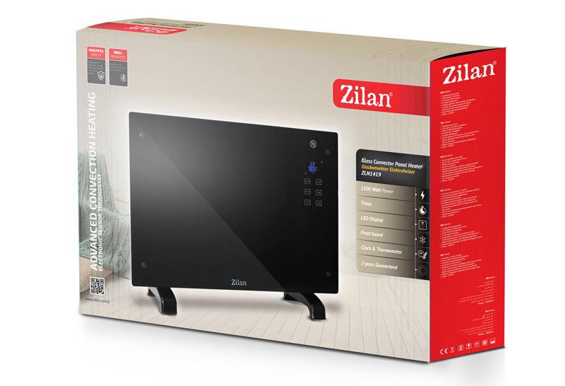 Конвектор Zilan ZLN-1419, 1500W, LED дисплей, Таймер, Защита от прегряване, Черен