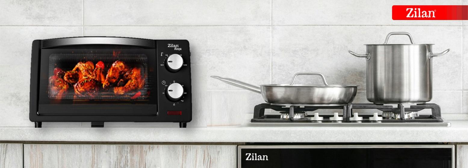 Малка готварска печка Zilan ZLN-4328, 800W, 9 литра, Двойно стъкло, Таймер, Черен