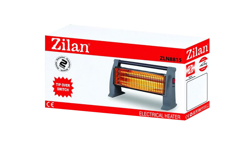 Кварцова печка Zilan ZLN-8815, 1500W, 3 нагревателя, 3 степени на мощност, Предпазител, Сив