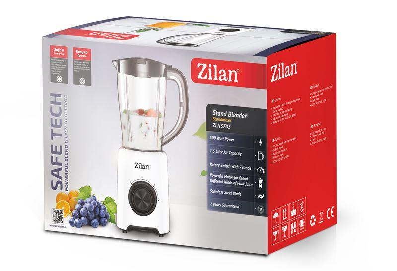 Блендер Zilan ZLN-3703, 500W, 1.5 литра, 2 скорости + Pulse, Бял