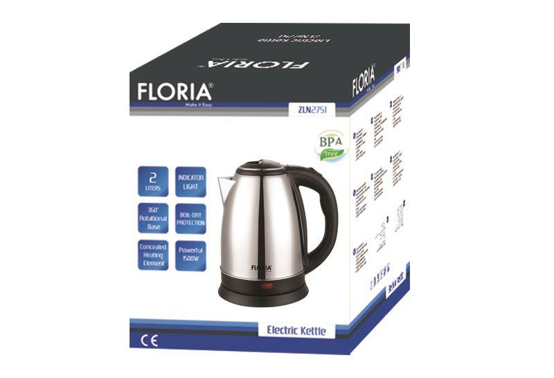 Електрическа кана Floria ZLN2768, 2200W, 1.8 литра, Безжична, Автоматично изключване, Инокс