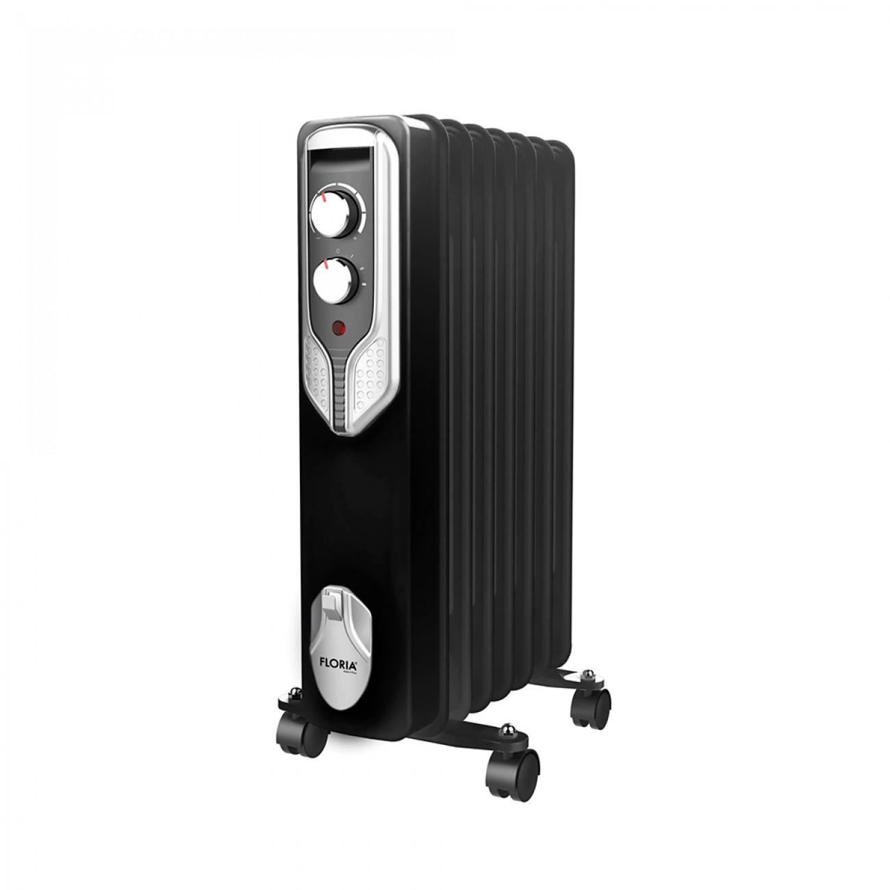 Маслен радиатор Floria ZLN-3642, 1500W, 7 ребра, Регулируем термостат, Черен в Маслени радиатори - Floria | Alleop