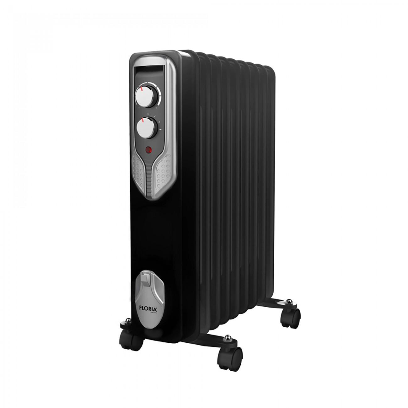 Маслен радиатор Floria ZLN-3659, 2000W, 9 ребра, Регулируем термостат, Черен в Маслени радиатори - Floria | Alleop
