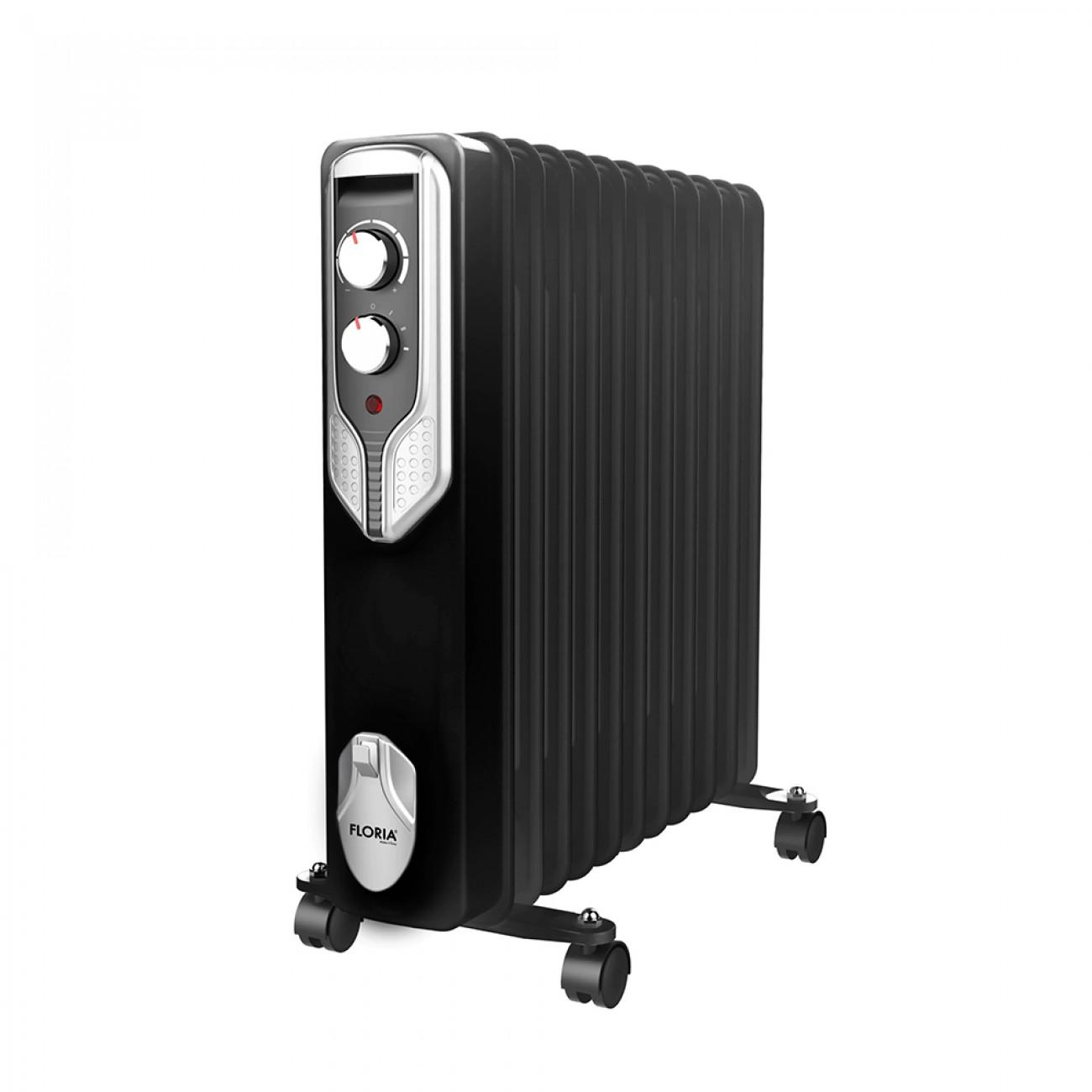 Маслен радиатор Floria ZLN-3666, 2500W, 11 ребра, Регулируем термостат, Черен в Маслени радиатори - Floria   Alleop