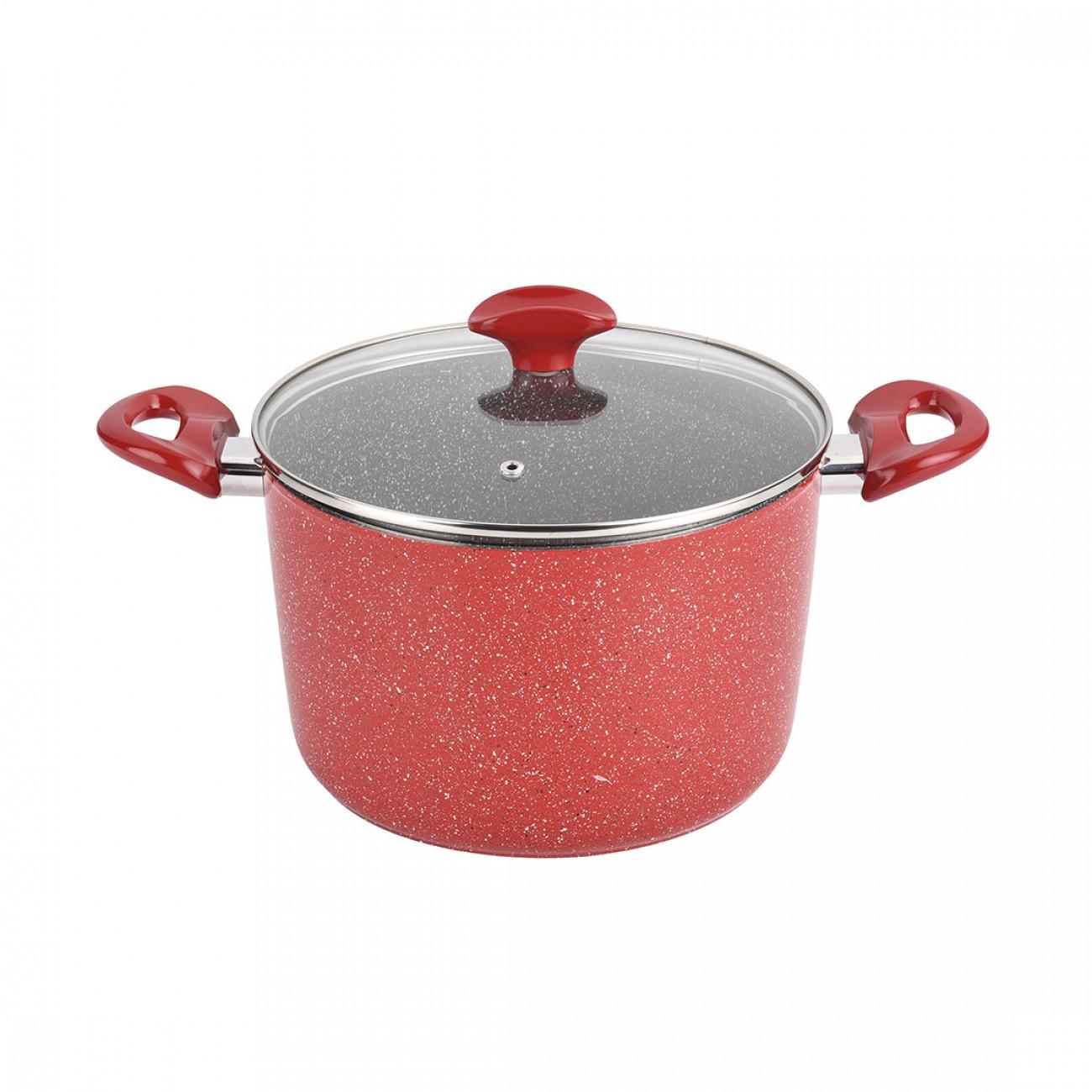 Дълбока тенджера от кован алуминий ZEPHYR Red Passion ZP 4418 E24D, 24 см, Мраморно покритие, Червен мрамор в Тенджери - ZEPHYR | Alleop