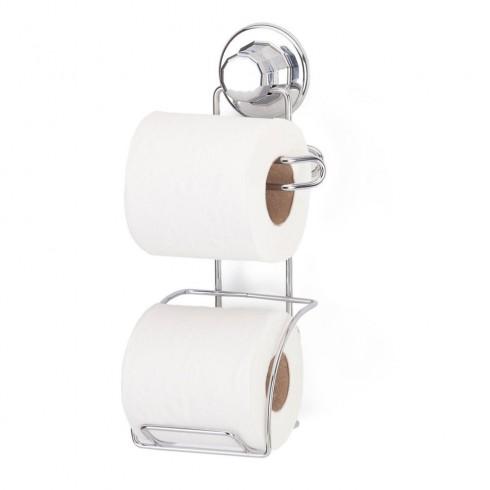 Двойна поставка за тоалетна хартия TEKNO TEL TR DM 282, Стенен монтаж, Вакуум, Хром в Закачалки и поставки за баня и тоалетна - TEKNO TEL | Alleop