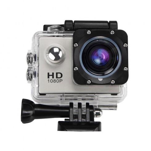 Екшън камера LLA, FullHD, 1080p, 2-инчов дисплей, 140° лещи, Водоустойчив, пълен комплект аксесоари, Сребрист в Екшън камери - ACAM | Alleop