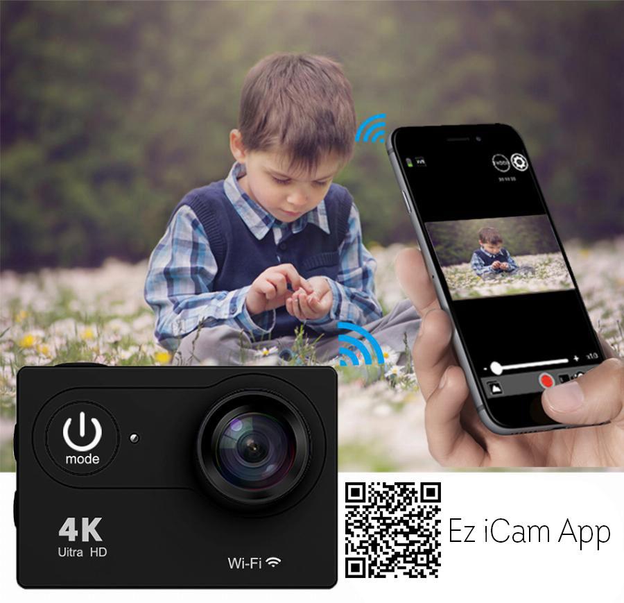 Екшън камера SJ9D, 4K Ultra HD, 2 инчов дисплей, 170° лещи, Водоустойчив, WiFi, Дистанционно, Пълен комплект аксесоари, Черен