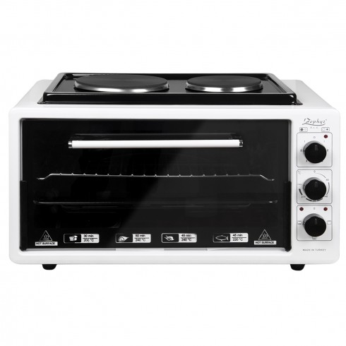 Готварска печка с два котлона ZEPHYR ZP 1441 T50HP, 3900W, 50 литра, Терморегулатор, Тава и решетка, Бял в Готварски печки - ZEPHYR | Alleop