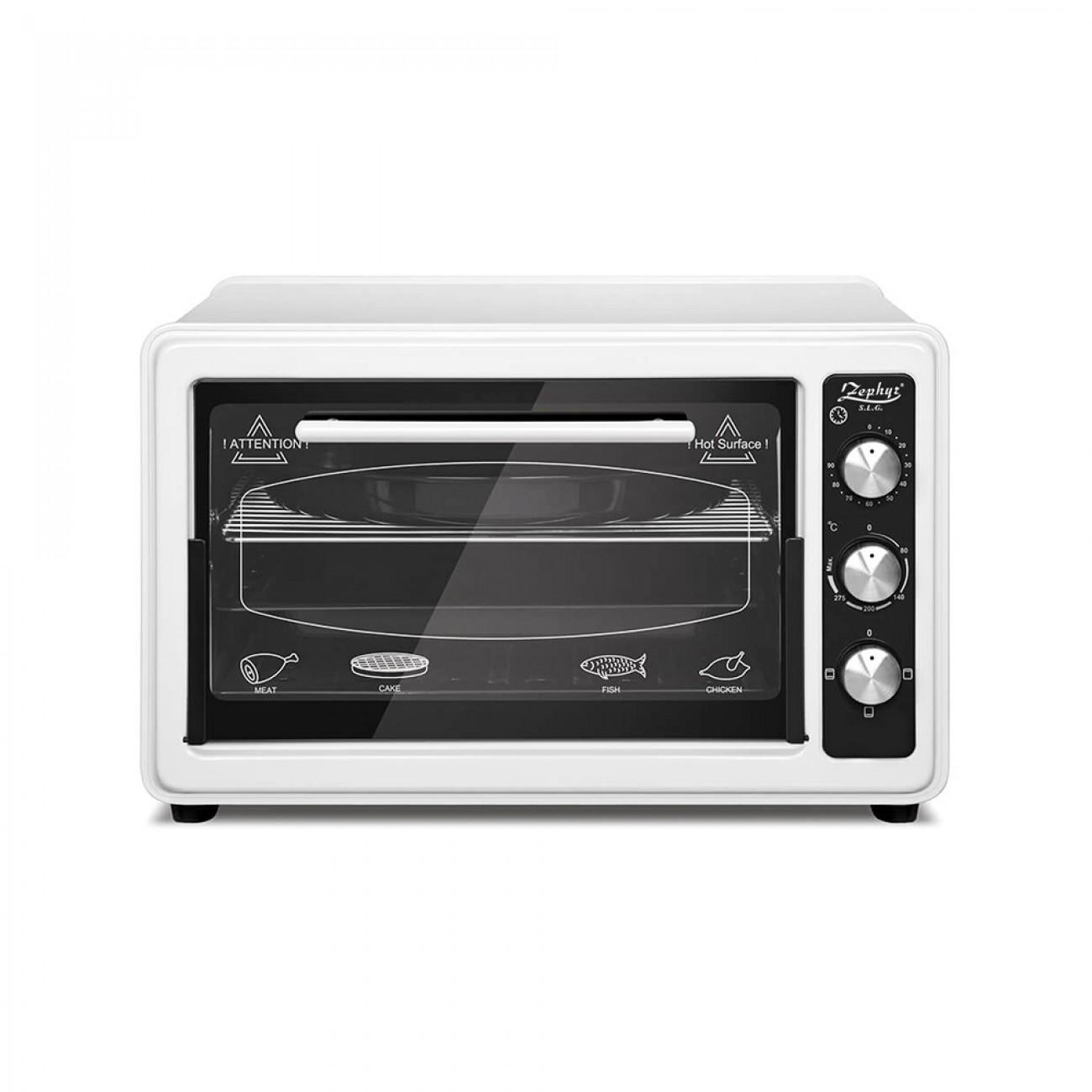 Готварска печка ZEPHYR ZP 1441 T40, 1400W, 40 литра, Терморегулатор, Таймер, Тава 34 см, Бял в Готварски печки - ZEPHYR | Alleop