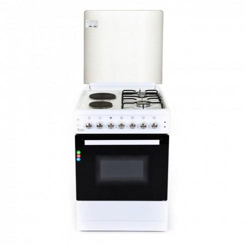 Комбинирана готварска печка ZEPHYR ZP 1441 2E50, 2 газови/ 2 електрически котлона, 6 функции, Клас А, 50 см, Бяла в Готварски печки - ZEPHYR   Alleop