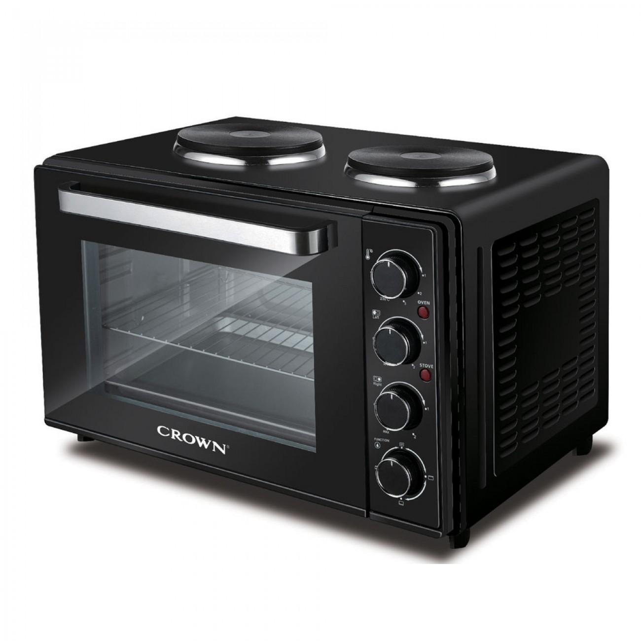 Готварска печка с два котлона CROWN MNH-48B, 48 литра, Фурна 2000 W, до 230 C, Котлони 1600W, Черен в Малки готварски печки - Crown | Alleop