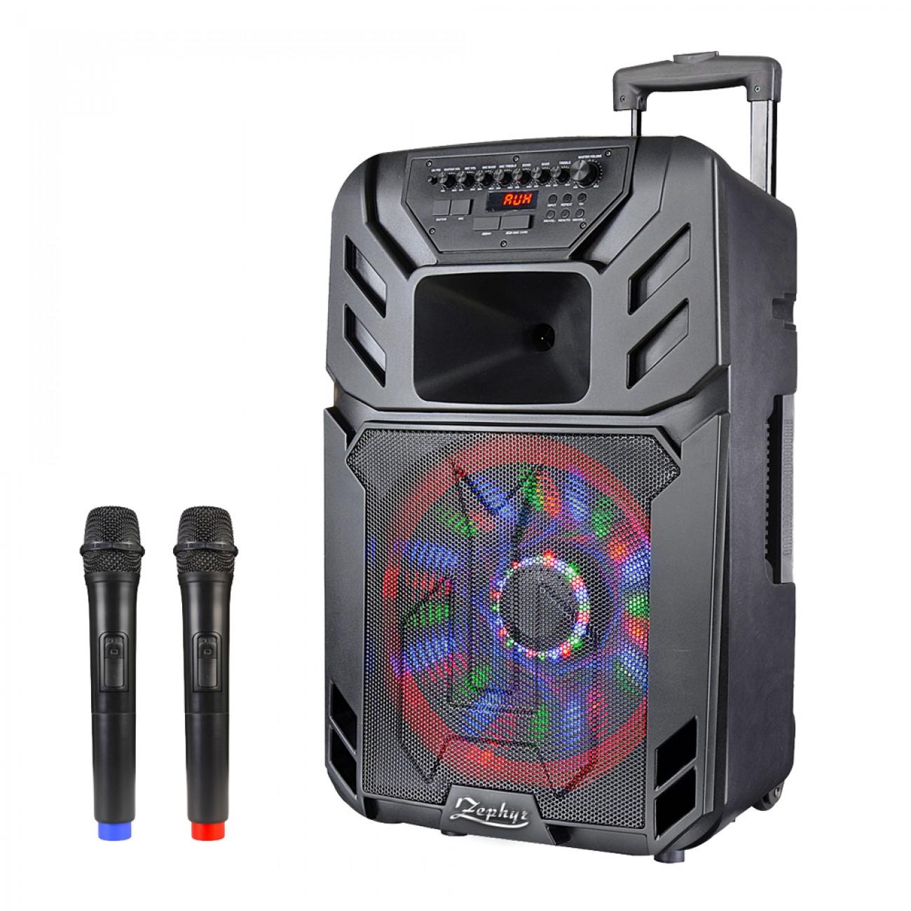 Преносима караоке система ZEPHYR ZP 9999 A15, 15 инча, Вграден акумулатор, Bluetooth, 2 бр. безжични микрофона в Преносими караоке тонколони - ZEPHYR | Alleop