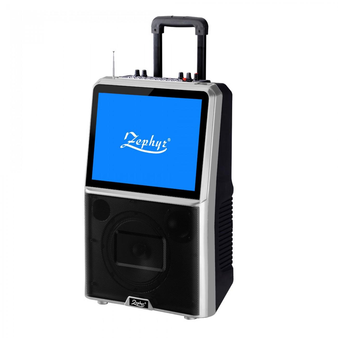 Караоке тонколона с цветен LED екран Zephyr ZP 9999 ETV, 8 TV тунер, Активна, Bluetooth, MP3, 2 бр. безжични микрофона, 12V/4.5Ah, Черен в Преносими караоке тонколони - ZEPHYR | Alleop