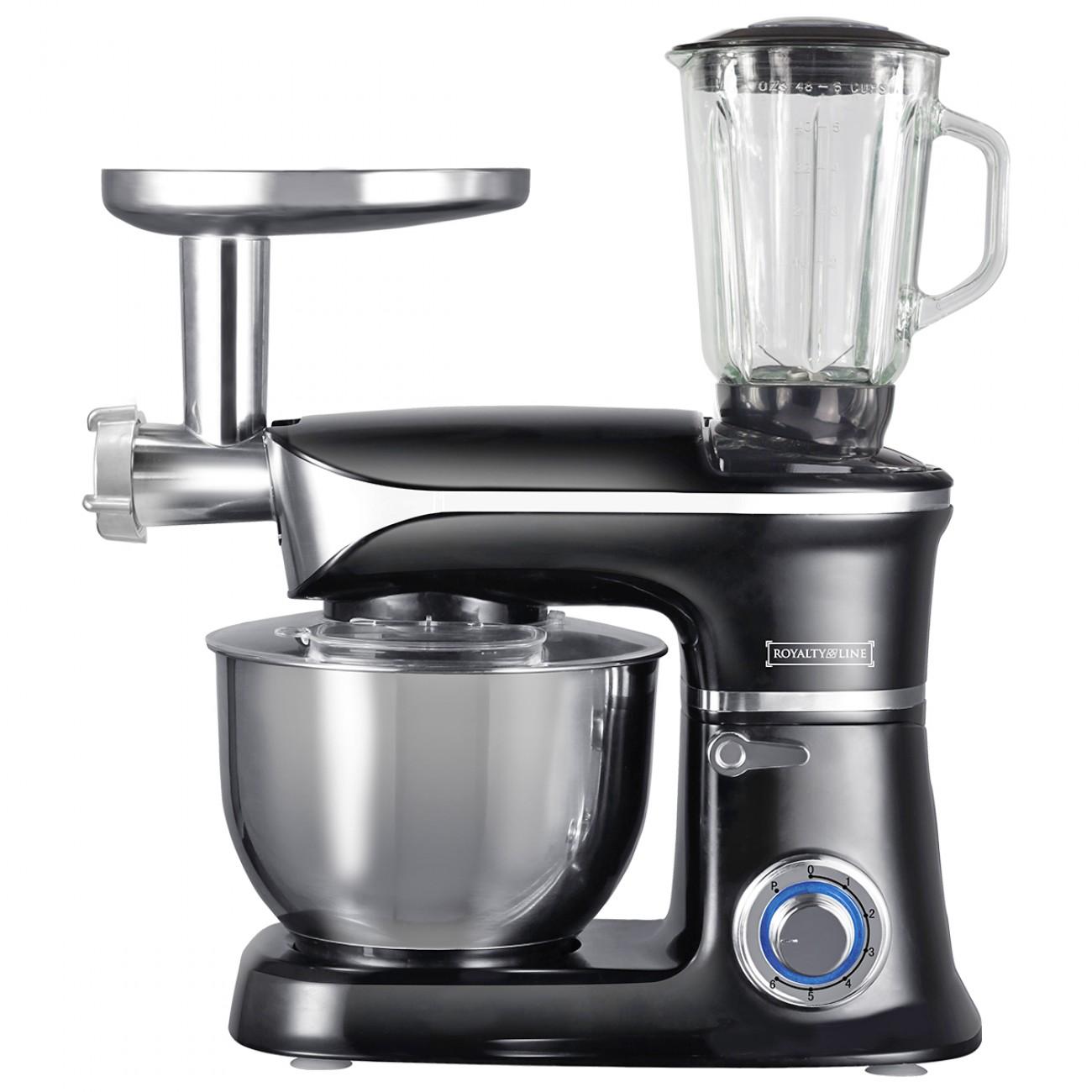Кухненски робот 3в1 Royalty Line RL-PKM1900.7BG, 1900W, 6,5 литра, Блендер, Миксер, Месомелачка, Черен в Кухненски роботи - ROYALTY LINE | Alleop