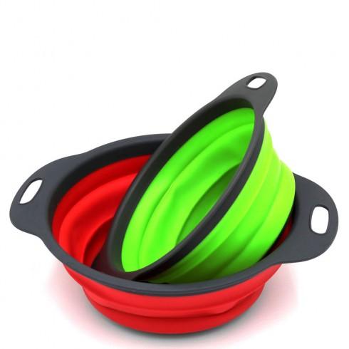 Комплект гевгири OEM 2572-8, 2 броя, Кръгли, Сгъваеми, 20/23 см, Силикон, Червен и зелен в Цедки и гевгири - ОЕМ | Alleop
