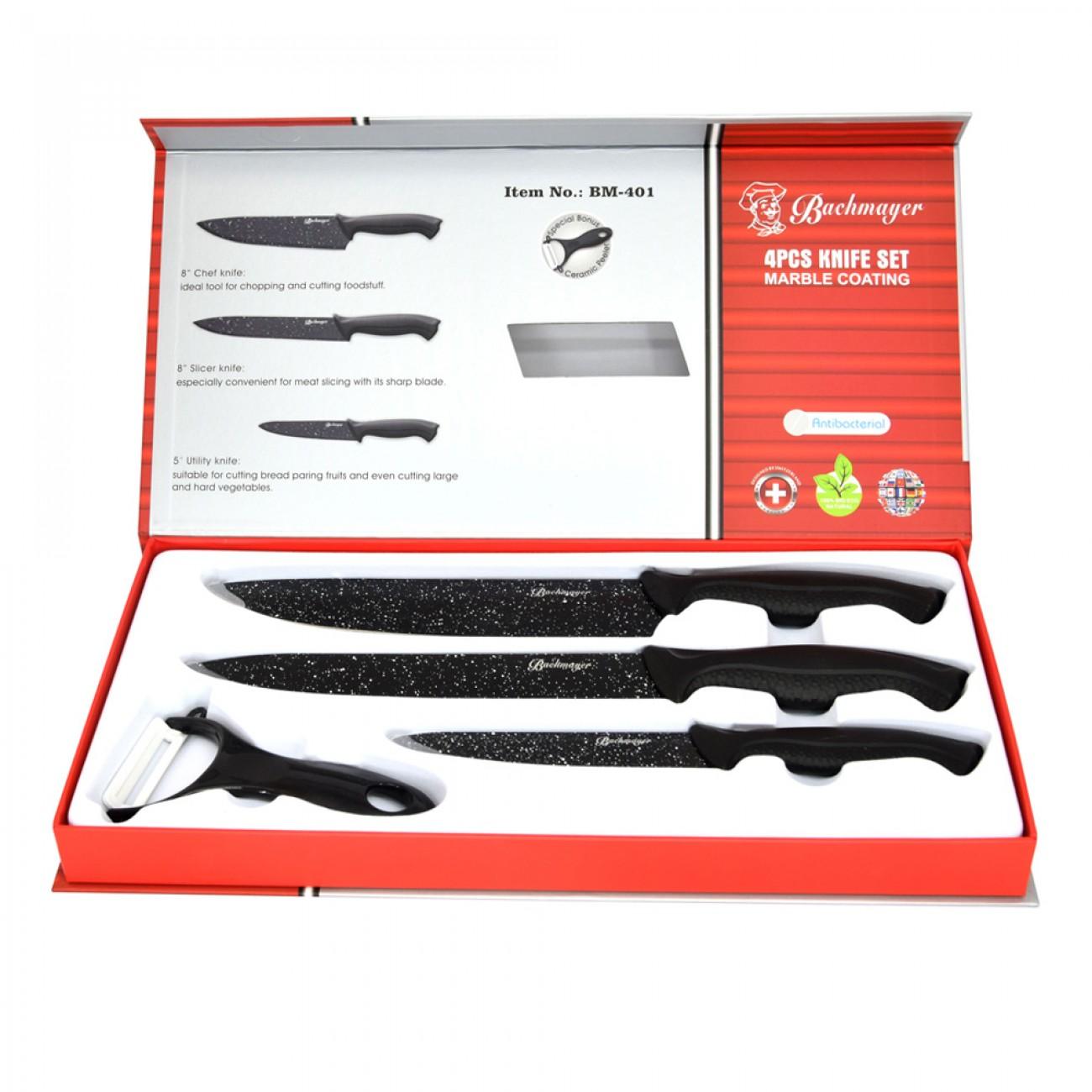 Комплект 3 ножа + керамична белачка в кутия, Bachmayer BM 401, Мраморно покритие в Комплекти ножове - Bachmayer | Alleop