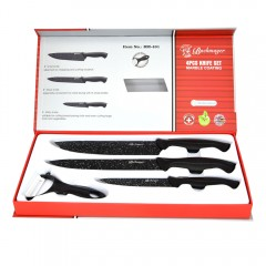 Комплект 3 ножа + керамична белачка в кутия, Bachmayer BM 401, Мраморно покритие