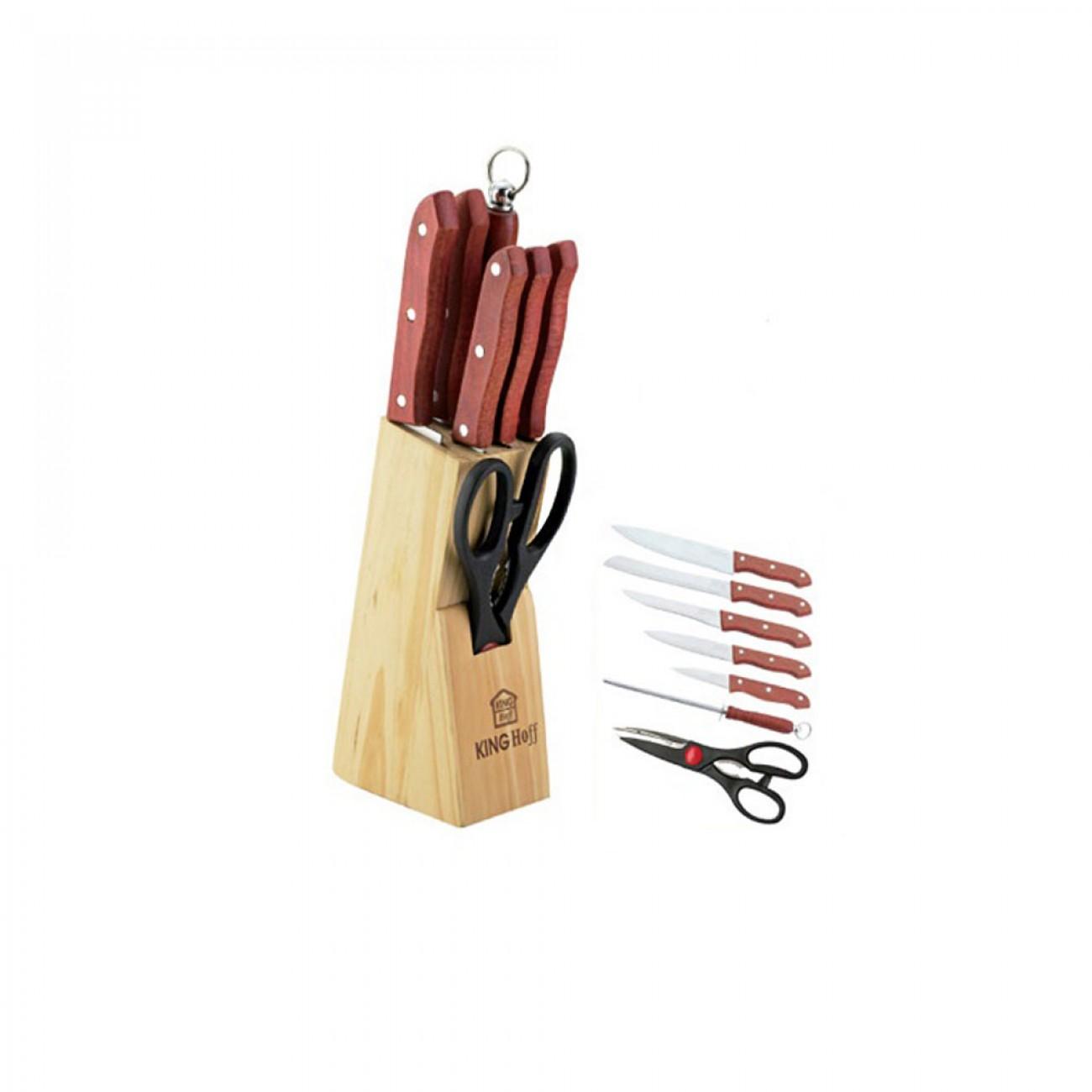 Комплект ножове 5 бр + ножица и точило KingHoff KH 3445, Дървена поставка в Комплекти ножове - Kinghoff | Alleop