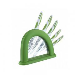 Комплект ножове с поставка Bachmayer BM 243, 6 бр, Антибактериално покритие, Зелен