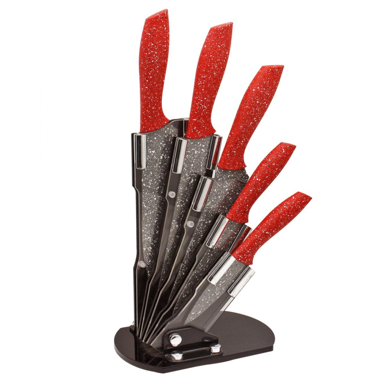 Комплект 5 ножа ZEPHYR Red Passion ZP 1633 ES5AS, Мраморно покритие, Акрилна поставка в Комплекти ножове - ZEPHYR | Alleop