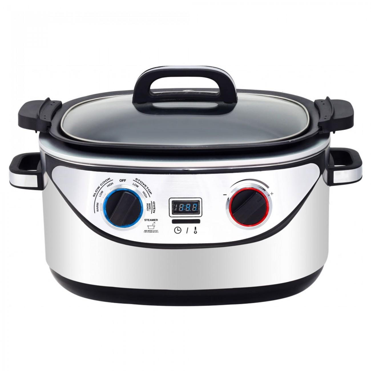 Мултикукър 8в1 Royalty Line RL-EMFC-1400.1D, 1350 W, 5.6 л, Бавно готвене, Таймер, Черен/инокс в Multicooker & Уреди за готвене - ROYALTY LINE   Alleop