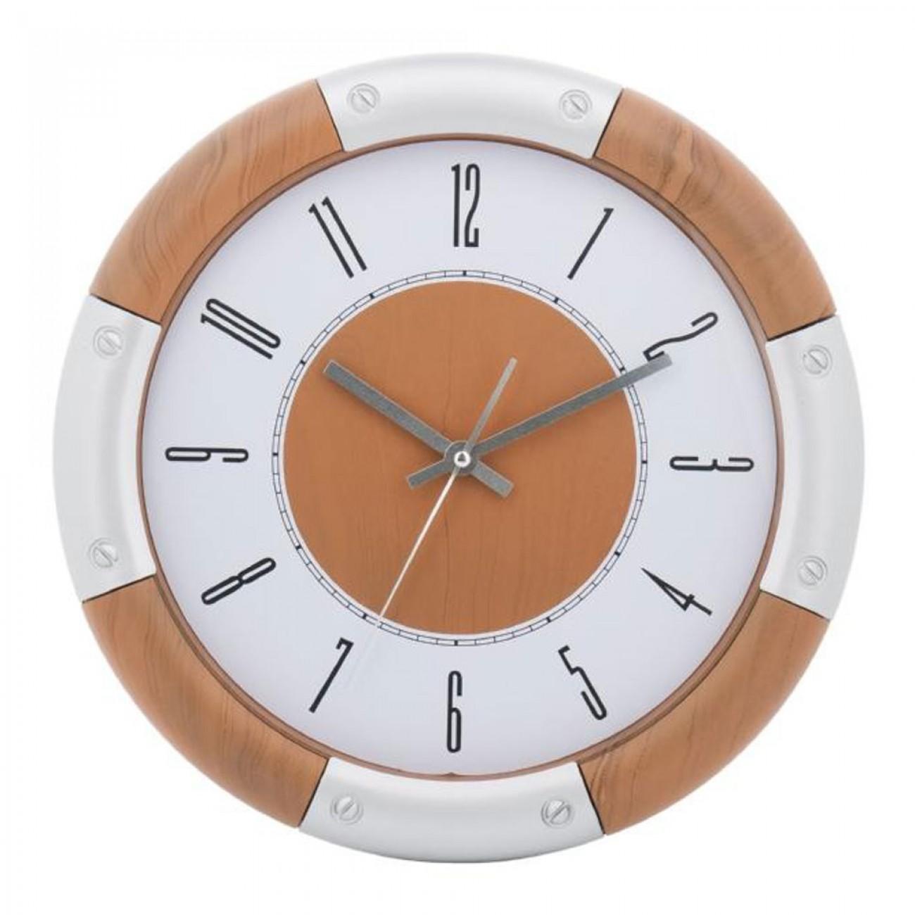 Стенен часовник KingHoff KH 5022, 30 см, Аналогов, Кафяв/бял в Стенни часовници - Kinghoff | Alleop