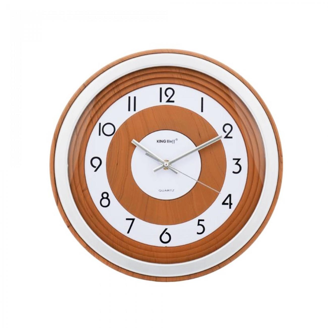 Стенен часовник KingHoff KH 5023, 33 см, Аналогов, Кафяв/бял в Стенни часовници - Kinghoff | Alleop