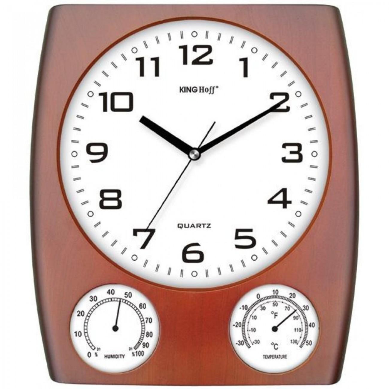 Стенен часовник с термометър и влагомер KingHoff KH 5029, 30 см, Кафяв в Стенни часовници - Kinghoff | Alleop
