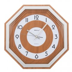 Стенен часовник KingHoff KH 5013, 33 см, Аналогов, Кафяв/бял