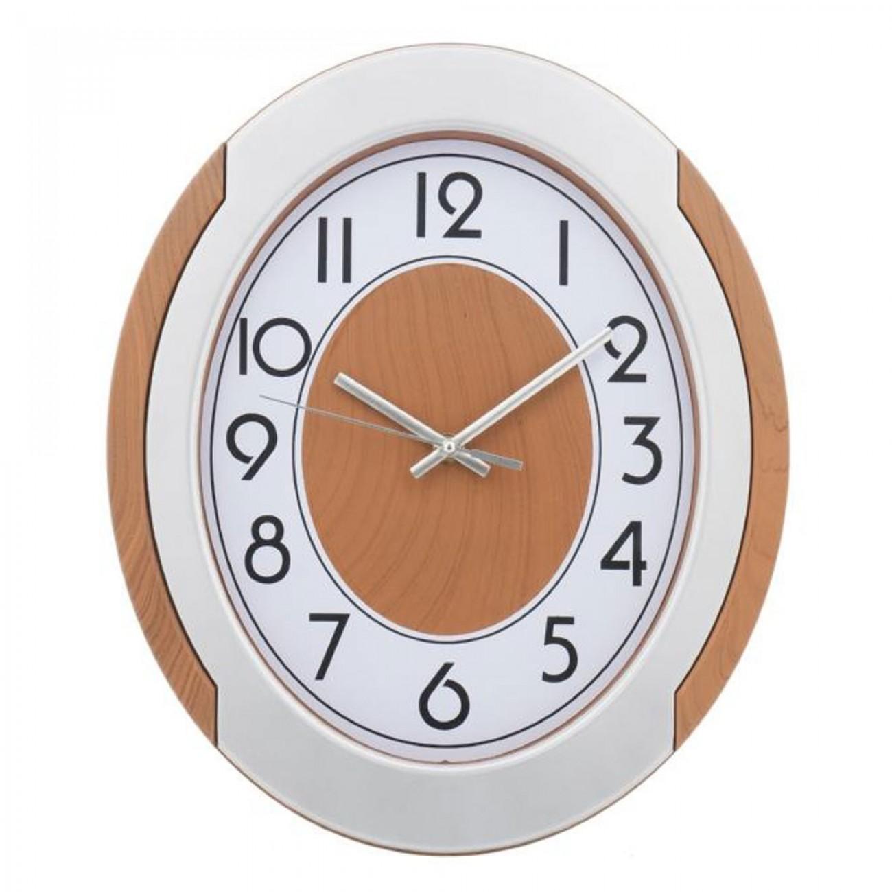 Стенен часовник KingHoff KH 5016, 30х35 см, Аналогов, Кафяв/бял в Стенни часовници - Kinghoff | Alleop