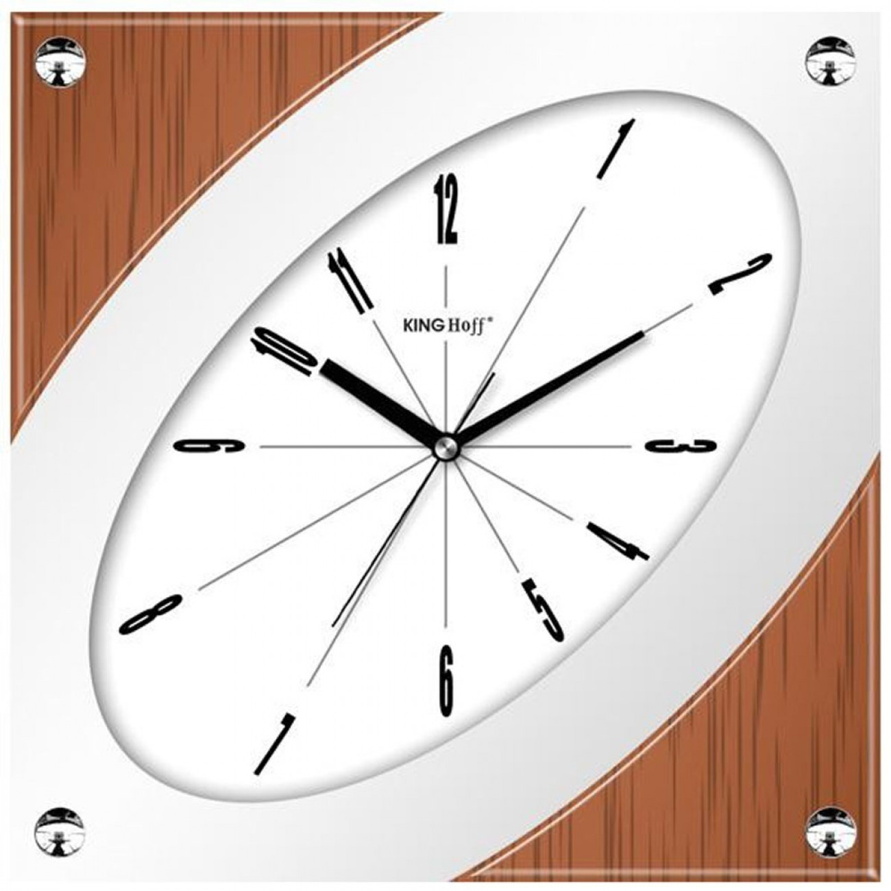 Стенен часовник KingHoff KH 5020, 32 см, Аналогов, Кафяв/бял в Стенни часовници - Kinghoff | Alleop